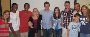 "Our team at ""Berlin Night"".  From left to right- Mary, Paul, Tyler, Elijah, Simone, Jeff, Sophie, Samuel, Gabe, Roddy, Katie.  Kristina and Caroline were not able to join us."